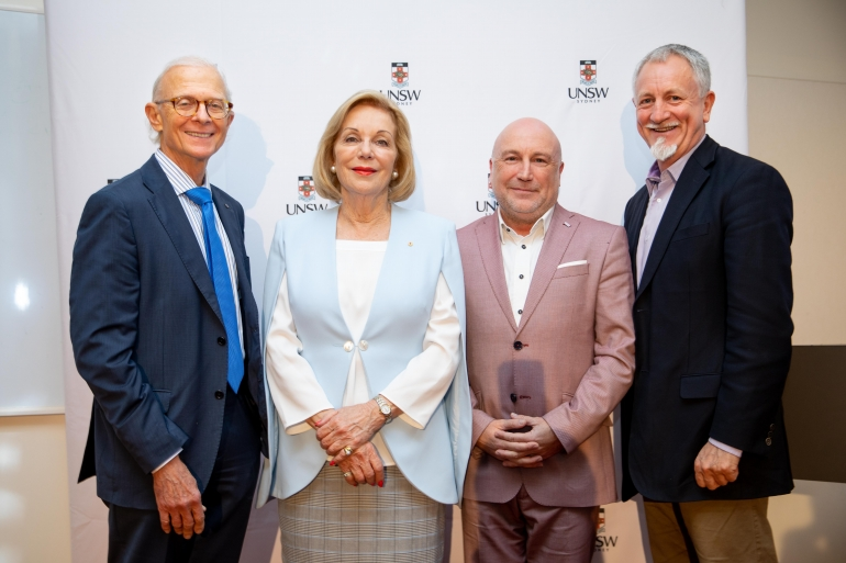 UNSW Scientia Professor Henry Brodaty; Chair of the Prize Advisory Group Ita Buttrose; SANE Australia Board Director, psychiatrist and presenter of the ABC series Changing Minds Dr Mark Cross; and SANE Australia CEO and Member of the Prize Advisory Group Jack Heath launch the Prize at UNSW.