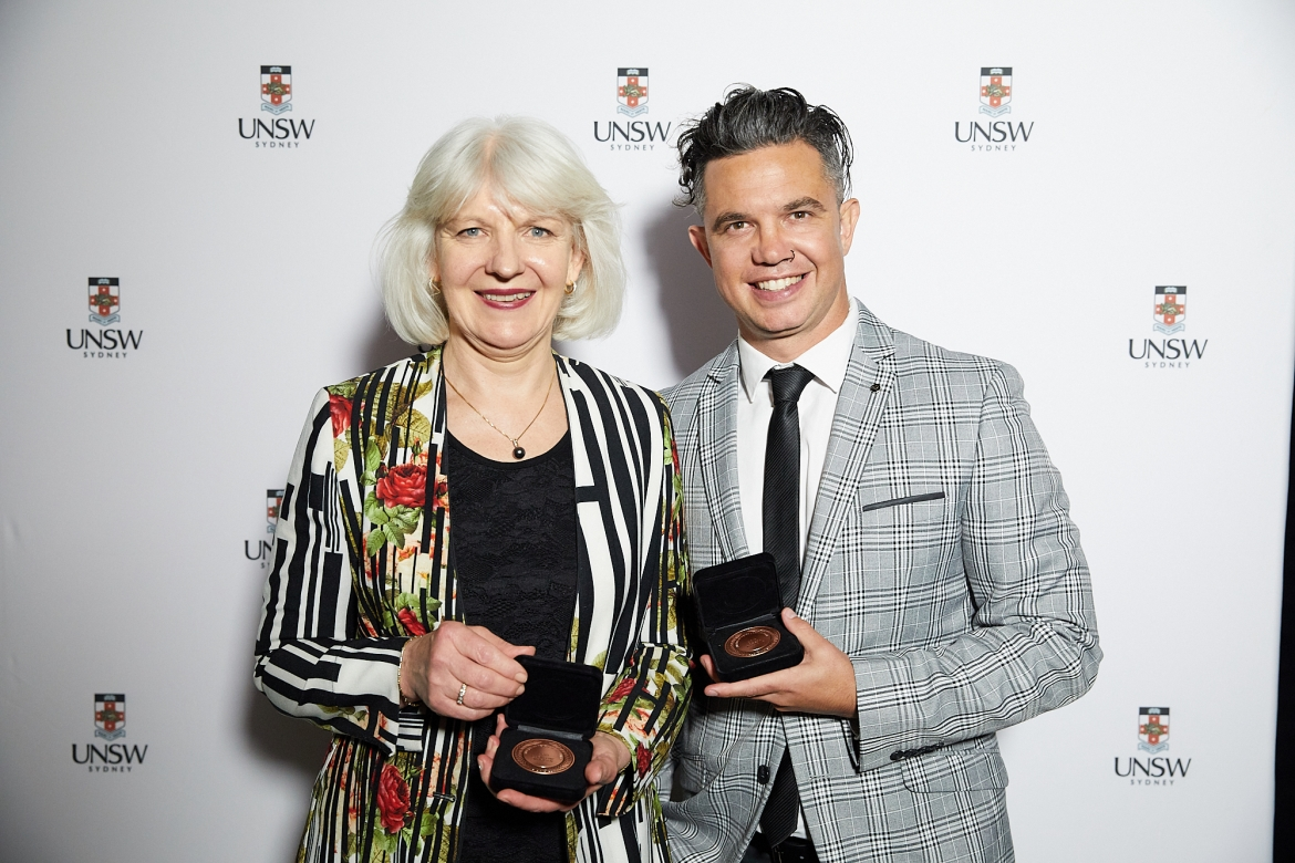 Dual winners of the Australian Mental Health Prize, Christine Morgan and Joe Williams.